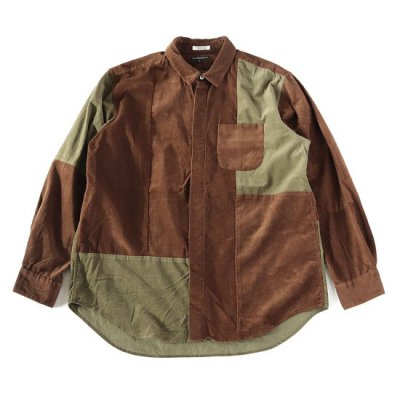 <img class='new_mark_img1' src='https://img.shop-pro.jp/img/new/icons13.gif' style='border:none;display:inline;margin:0px;padding:0px;width:auto;' />Engineered Garments (エンジニアードガーメンツ) / Combo Short Collar Shirt (Cotton 21W Corduroy) - BROWN