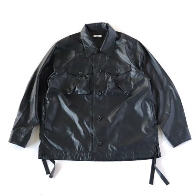 saby (サバイ) / MIL SHIRT (Wet Synthetic Leather) - BLACK