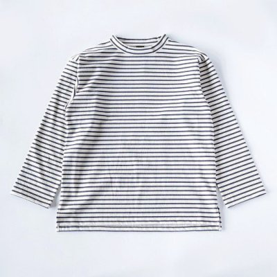 A Vontade (ア ボンタージ) / MOCK NECK BORDER L/S - NATURAL×INK