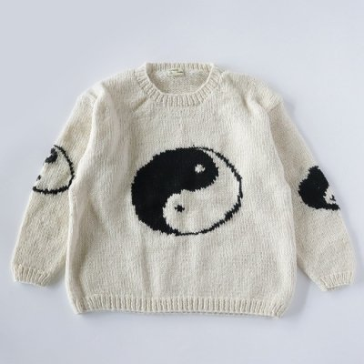 mcmahon knitting mills×it's inconspicuous presence (Niche. ニッチ) / BIG YIN YAN CREW KNIT - WHITE