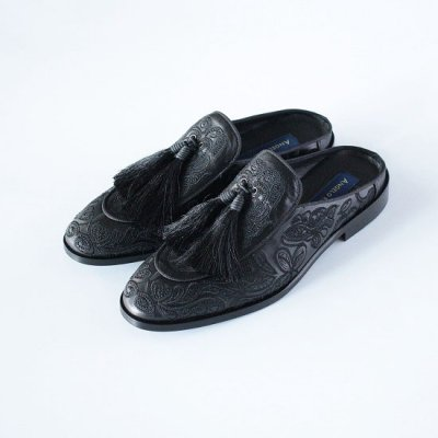 ANGELORUFFO(アンジェロルッフォ)exclusive for KNOCK OUT / LEATHER EMB MULE Special making - BLACK