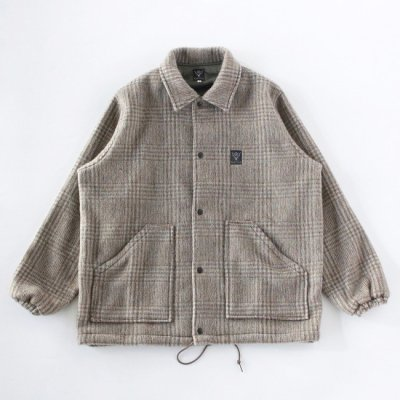 South2West8 (サウスツーウエストエイト) / COACH JACKET (SHAGGY PLAID) - SAX/BROWN
