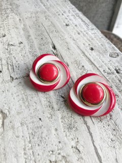 Vintage Red and White Oversized Earring