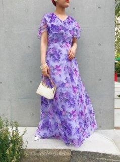 Vintage Purple Floral Maxi Dress
