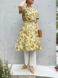 60s Floral Yellow Dress