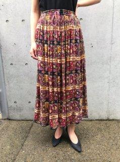 Vintage 70s Black×Red Indian Skirt