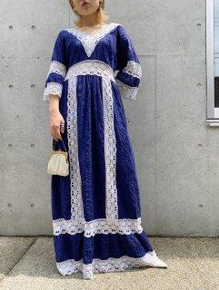 Vintage 70s Navy Maxi Dress