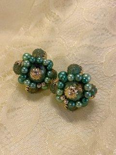 Vintage Green Beaded Earrings MADE IN JAPAN