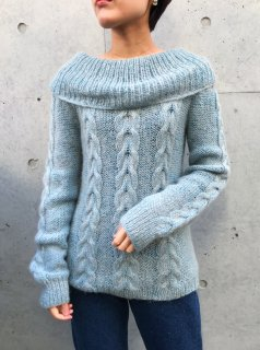 Vintage Dusty Blue Cable Sweater