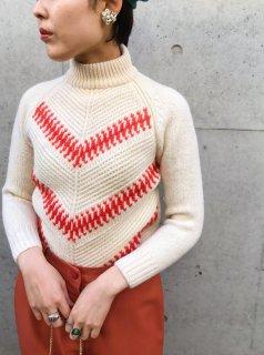 Vintage White×Orange Knit