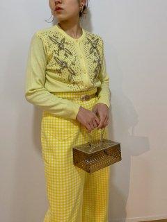 1950's Yellow Beaded Cardigan