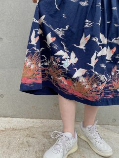 Vintage Birds Printed Skirt