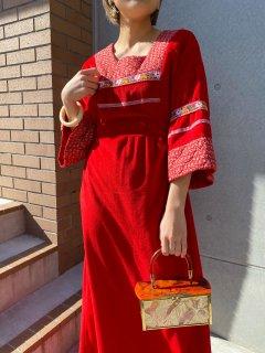 1970s Vintage Red Prairie Dress