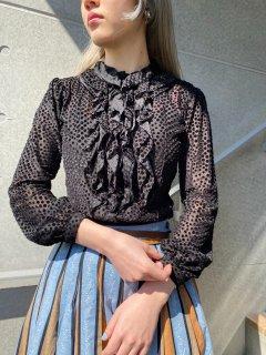 Lady's Black Dot Design Blouse
