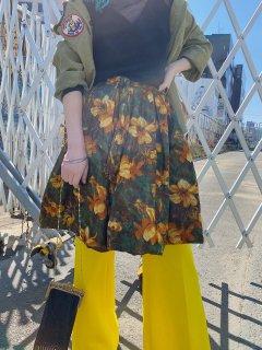 Vintage Floral Print Balloon Skirt