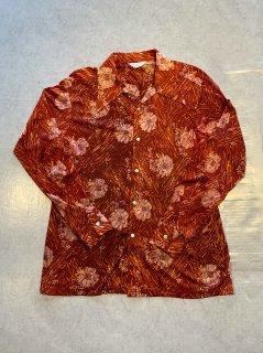 70s MAXINO Polyester Open-Collar L/S Shirt