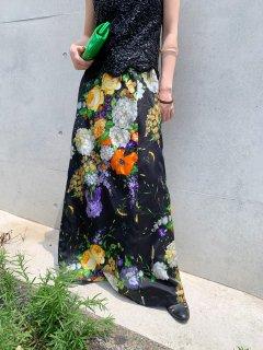 Vintage Floral Print Maxi Skirt