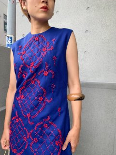 1960's~70's Embroidered Navy Dress