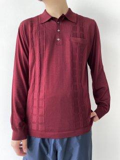 70s~ Design Knit L/S Polo-Shirt