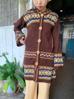 1970s Vintage Brown Knit Cardigan