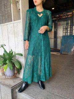 1980s Vintage  Dark Green Lace Fabric Dress