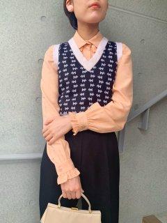 1970s Vintage Dogs Pattern Knit Vest