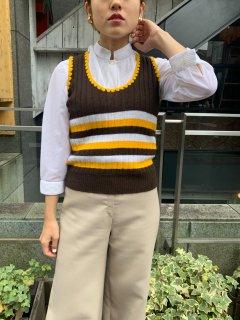 1970s Vintage Striped Pattern Knit Vest