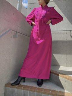 Vintage Fleece Fabric Fuchsia Pink Dress