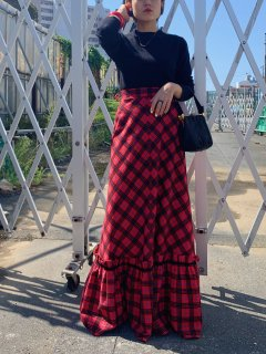 1970's Vintage Red×Black Plaid Maxi Skirt