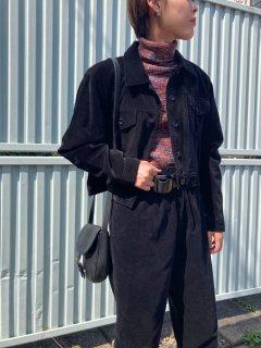 Lady's Black Velour Shirt Jacket