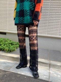 Lady's Black Lace Design Pants
