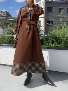 1970's Vintage Brown Wool Dress