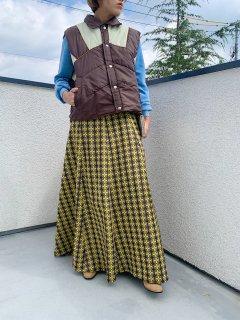 1970s Vintage Yellow ×Brown Pattern Skirt