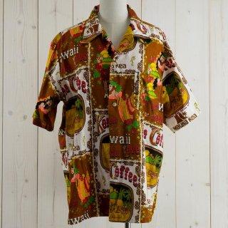古着70's Made in Hawaii  Hawaiian shirt ブラウン/ホワイト 古着のネット通販 古着屋グレープフルーツムーン