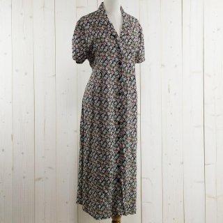 古着花柄 半袖シャツワンピース ブラック系 古着のネット通販 古着屋グレープフルーツムーン