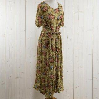 古着薔薇柄 半袖 ワンピース ベージュ 古着のネット通販 古着屋グレープフルーツムーン