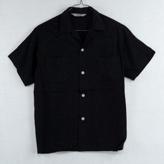古着Backers Short Sleeve Open Collar Shirt 半袖オープンカラーシャツ ブラック 古着のネット通販 古着屋グレープフルーツムーン