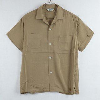 古着Backers Short Sleeve Open Collar Shirt 半袖オープンカラーシャツ ベージュ 古着のネット通販 古着屋グレープフルーツムーン