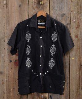 """古着""""Guaya・teco""""メキシコ製 キューバシャツ ブラック 古着のネット通販 古着屋グレープフルーツムーン"""