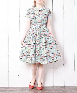 古着short sleeve Record pattern dress レコード総柄ドレス 古着のネット通販 古着屋グレープフルーツムーン