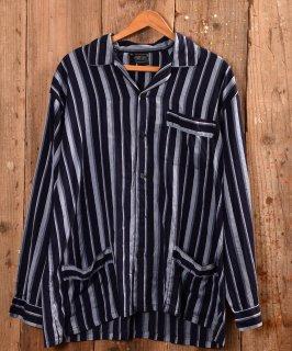 古着Europe stripe pajamas Shirt|ユーロストライプパジャマシャツ ネイビー系   古着のネット通販 古着屋グレープフルーツムーン