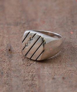 古着Silver Ring Oblique & 3Cz | ホワイトキューブリックジルコニア シルバーリング 古着のネット通販 古着屋グレープフルーツムーン
