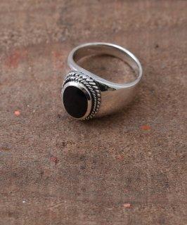 古着Silver Ring black Oval 2Rope | ブラックオニキス・ロープデザインシルバーリング 古着のネット通販 古着屋グレープフルーツムーン