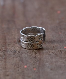 古着Silver Ring 2 Layers Mum Stamp | ネイティブアメリカンモチーフ シルバーリング 古着のネット通販 古着屋グレープフルーツムーン