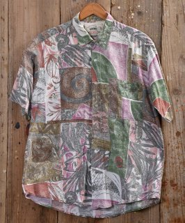 古着ヨーロッパ製 総柄半袖シャツ ホワイト系  古着のネット通販 古着屋グレープフルーツムーン