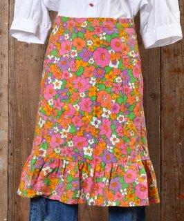 古着70's Flower Pattern  Apron| 70年代花柄エプロン ピンク系 古着のネット通販 古着屋グレープフルーツムーン
