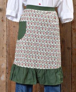 古着70's little Flower pattern Apron|70年代 小紋花柄エプロン グリーン系 古着のネット通販 古着屋グレープフルーツムーン