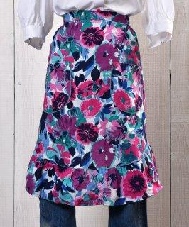 古着Flower Multi pattern Apron| 総花柄エプロン パープル・ピンク系 古着のネット通販 古着屋グレープフルーツムーン