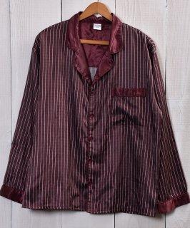 古着EURO Stripe pattern Pajamas Shirt |ユーロパジャマシャツ ストライプ ワインレッド系 古着のネット通販 古着屋グレープフルーツムーン