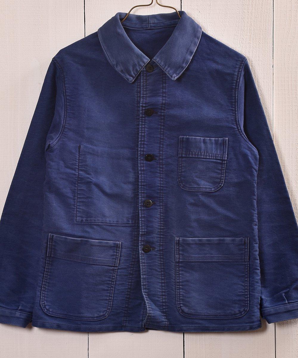 古着 Vintage EURO Moleskin Work Jacket French Blue |ヴィンテージ ユーロモールスキンワークジャケット カバーオール フレンチインクブルー 古着 ネット 通販 古着屋グレープフルーツムーン